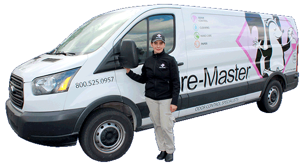 Aire-Master service rep with branded vehicle